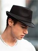 ราคาถูก ร่างกายเซ็กซี่-สำหรับผู้ชาย สีพื้น ผ้าวูลผสม วินเทจ-หมวกบัคเก็ต หมวกเฟโดร่า สีดำ