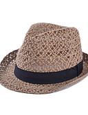 ราคาถูก หมวกสตรี-สำหรับผู้หญิง สีพื้น Straw วินเทจ-หมวกสาน ฤดูร้อน สีกากี