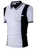 ราคาถูก เสื้อโปโลสำหรับผู้ชาย-สำหรับผู้ชาย Polo ซึ่งทำงานอยู่ ฝ้าย ลายต่อ คอเสื้อเชิ้ต เพรียวบาง ลายบล็อคสี Black & White ขาว / แขนสั้น / ฤดูร้อน