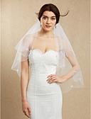 ราคาถูก ม่านสำหรับงานแต่งงาน-Two-tier Beaded Edge ผ้าคลุมหน้าชุดแต่งงาน Blusher Veils / ผ้าคลุมศรีษะสำหรับชุดแต่งงาน กับ ของประดับด้วยลูกปัด Tulle / Mantilla