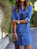 Χαμηλού Κόστους Γυναικεία περιτύλιγμα & κασκόλ-Γυναικεία Βαμβάκι T Shirt Φόρεμα - Μονόχρωμο Πάνω από το Γόνατο Κολάρο Πουκαμίσου Μπλε