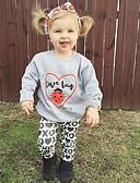 ราคาถูก ชุดเด็กผู้หญิง-Toddler เด็กผู้หญิง Cartoon ลายพิมพ์สัตว์ ปาร์ตี้ ทุกวัน ไปเที่ยว สัตว์ ลายพิมพ์ แขนยาว ปกติ ปกติ ฝ้าย ชุดเสื้อผ้า สีเทา