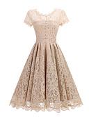 Χαμηλού Κόστους Print Dresses-Γυναικεία Εξόδου Εκλεπτυσμένο Γραμμή Α Φόρεμα - Μονόχρωμο, Δαντέλα Ως το Γόνατο