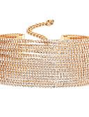 billiga Trosor-Dam Syntetisk Diamant Chokerhalsband damer Unik design Legering Guld Silver Halsband Smycken Till Bröllop Party Dagligen Casual Cosplay Kostymer/Dräkter