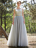 Χαμηλού Κόστους Βραδινά Φορέματα-Βραδινή τουαλέτα Illusion Seckline Μακρύ Τούλι Φανταχτερό / Beaded & Sequin Χοροεσπερίδα / Επίσημο Βραδινό Φόρεμα 2020 με Χάντρες / Πούλιες / Ζώνη / Κορδέλα