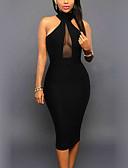 Χαμηλού Κόστους Γυναικείες μακριές και μίνι ολόσωμες φόρμες-Γυναικεία Αργίες Κλαμπ Κομψό στυλ street Εφαρμοστό Φόρεμα - Patchwork, Εξώπλατο Δίχτυ Ως το Γόνατο Στρογγυλή Ψηλή Λαιμόκοψη Μαύρο / Sexy / Πολύ στενό