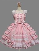 povoljno Lolita moda-Princeza Sweet Lolita Ruffle Dress Haljine JSK / Jumper suknja Žene Djevojčice Pamuk Japanski Cosplay Kostimi Veći konfekcijski brojevi Prilagođeno Pink Krinolina Jednobojni Mašna Bez rukávů Kratki