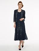 olcso Örömanya ruhák-A-vonalú Szíj Tea-hossz Sifon Örömanya ruha val vel Gyöngydíszítés / Rakott által LAN TING BRIDE®