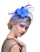 ราคาถูก เครื่องประดับผมผู้หญิง-สำหรับผู้หญิง Kentucky Derby หมวก Tömör szín ตาข่าย ไข่มุก ขนนก ปาร์ตี้