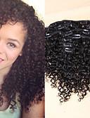 billiga Brudsjalar-Klämma in Människohår förlängningar Kinky Curly Äkta hår Hårförlängningar av äkta hår Dam Svart