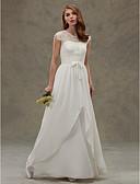 povoljno Maturalne haljine-A-kroj Ovalni izrez Do poda Šifon / Čipka Izrađene su mjere za vjenčanja s Čipka / Gumb po LAN TING BRIDE® / Prozirne