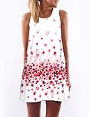 Χαμηλού Κόστους Print Dresses-Γυναικεία Αργίες Εξόδου Κομψό στυλ street Θήκη Φόρεμα - Φλοράλ Πάνω από το Γόνατο Άσπρο