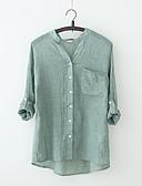 billige Skjorter til damer-V-hals Bluse Dame - Ensfarget Vintage Ut på byen Hvit