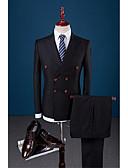 povoljno Smokinzi-Crn Jednobojni Uski kroj Poliester / Viskoza Odijelo - Šiljasti Droit 4 boutons / odijela