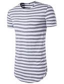 baratos Camisas Masculinas-Homens Camiseta - Esportes Básico Estampado, Listrado Decote Redondo Delgado Vermelho / Manga Curta / Verão / Longo