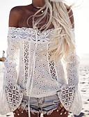 baratos Camisas Femininas-Mulheres Camiseta Moda de Rua Laço, Sólido Algodão Decote Canoa Branco / Primavera / Outono
