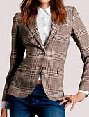 ราคาถูก เสื้อคลุมผู้หญิง-สำหรับผู้หญิง ทุกวัน ฤดูร้อน / ตก ปกติ แจ๊คเก็ต, สีผสม คอวี แขนยาว ฝ้าย ลายพิมพ์ สีน้ำตาล