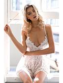 Χαμηλού Κόστους Γυναικείες μακριές και μίνι ολόσωμες φόρμες-Γυναικεία Δαντέλα Εξόδου / Κλαμπ Τιράντες Μαύρο Λευκό Ολόσωμα Ολόσωμη φόρμα, Μονόχρωμο Δαντέλα XS Τ M Ψηλοκάβαλο Δαντέλα Αμάνικο Καλοκαίρι