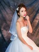 ราคาถูก ม่านสำหรับงานแต่งงาน-ชั้นเดียว งานผ้าขอบลายลูกไม้ ผ้าคลุมหน้าชุดแต่งงาน Elbow Veils / ผ้าคลุมศรีษะสำหรับชุดแต่งงาน กับ เข็มกลัด / แพทเทิร์น ลูกไม้ / Tulle / คลาสสิก