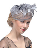 baratos Vestidos para as Mães dos Noivos-Mulheres Kentucky Derby Chapéu Cor Única Grade Pena Tecido Festa