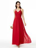 Χαμηλού Κόστους Φορέματα Παρανύμφων-Ίσια Γραμμή Λεπτές Τιράντες Μέχρι τον αστράγαλο Σιφόν Φόρεμα Παρανύμφων με Χιαστί / Πλισέ