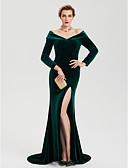 Χαμηλού Κόστους Βραδινά Φορέματα-Ίσια Γραμμή Ώμοι Έξω Ουρά Βελούδο Με Σκίσιμο / Στυλ Διασήμων Επίσημο Βραδινό Φόρεμα 2020 με Με χώρισμα
