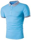 ราคาถูก เสื้อโปโลสำหรับผู้ชาย-สำหรับผู้ชาย ขนาดพิเศษ Polo ซึ่งทำงานอยู่ ฝ้าย คอเสื้อเชิ้ต เพรียวบาง สีพื้น สีดำ / แขนสั้น / ฤดูร้อน