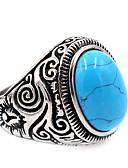 povoljno Trendy Jewelry-Muškarci Prsten Pečatni prsten prsten za palac Tirkiz Topaz Crn Braon Obala Tikovina Titanium Steel Obsidian Krug dame Jedinstven dizajn Osnovni Hvala vam Dnevno Jewelry Graviranog