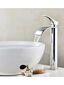 billige Sett med sykkeltrøyer og shorts/bukser-Baderom Sink Tappekran - Foss Krom Centersat Enkelt Håndtak Et HullBath Taps