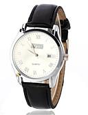 ราคาถูก นาฬิกาสำหรับผู้ชาย-สำหรับผู้หญิง นาฬิกาแฟชั่น นาฬิกาอิเล็กทรอนิกส์ (Quartz) หนัง ดำ 30 m ระบบอนาล็อก ขาว ฟ้า