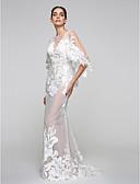 billiga Brudklänningar-Trumpet / sjöjungfru V-hals Svepsläp Tyll / Genomskinlig spets / Spets på tyll Halvlång ärm Genomskinliga Bröllopsklänningar tillverkade med Applikationsbroderi 2020
