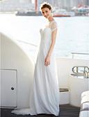 billiga Brudklänningar-A-linje Bateau Neck Golvlång Spets / Tyll Kortärmad Illusion Detalj Bröllopsklänningar tillverkade med Draperad / Spets 2020