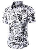 ราคาถูก เสื้อเชิ้ตผู้ชาย-สำหรับผู้ชาย ขนาดพิเศษ เชิร์ต ทำงาน - ฝ้าย ลายพิมพ์ ลายโค้ง สีบานเย็น / แขนสั้น / ฤดูร้อน / ตก