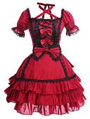 povoljno Lolita moda-Princeza Gothic Lolita Haljine Žene Djevojčice Pamuk Japanski Cosplay Kostimi Veći konfekcijski brojevi Prilagođeno Crvena Krinolina Kolaž Puf Kratkih rukava Mini