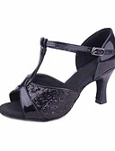ราคาถูก เสื้อเชิ้ตสำหรับสุภาพสตรี-สำหรับผู้หญิง รองเท้าเต้นรำ Paillette ลาติน ส้น ส้นแบบกำหนดเอง ตัดเฉพาะได้ สีเงิน / สีบานเย็น / น้ำตาลเข้ม / ในที่ร่ม / EU39