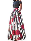 baratos Vestidos Estampados-Mulheres Feriado Algodão Duas Peças Vestido - Estampado, Listrado Floral Longo
