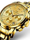 baratos Relógios Acessórios-ONTHEEDGE Homens Relógio Esportivo Relógio Militar Relógio de Pulso Japanês Quartzo Agulha de três olhos Aço Inoxidável Preta / Prata / Dourada 30 m Impermeável Calendário Luminoso Analógico Amuleto