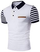 ราคาถูก เสื้อโปโลสำหรับผู้ชาย-สำหรับผู้ชาย ขนาดพิเศษ Polo ซึ่งทำงานอยู่ ฝ้าย คอเสื้อเชิ้ต เพรียวบาง ลายแถบ ขาว / แขนสั้น / ฤดูร้อน