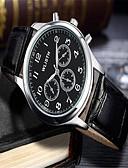 ราคาถูก นาฬิกาข้อมือแฟชั่น-สำหรับผู้ชาย นาฬิกาแฟชั่น นาฬิกาอิเล็กทรอนิกส์ (Quartz) หนัง ดำ ระบบอนาล็อก ไม่เป็นทางการ - ขาว สีดำ