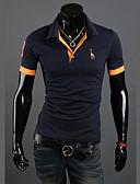 ราคาถูก ผ้าพันคอสุภาพบุรุษ-สำหรับผู้ชาย ขนาดพิเศษ Polo ซึ่งทำงานอยู่ ฝ้าย คอเสื้อเชิ้ต เพรียวบาง สีพื้น สีเทา / แขนสั้น / ฤดูร้อน