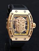 ราคาถูก นาฬิกากีฬา-สำหรับผู้ชาย นาฬิกาใส่ลำลอง นาฬิกาแนวสปอร์ต นาฬิกาแฟชั่น นาฬิกาอิเล็กทรอนิกส์ (Quartz) ยางทำจากซิลิคอน ดำ กันน้ำ Creative เท่ห์ ระบบอนาล็อก ความหรูหรา วินเทจ ไม่เป็นทางการ หัวกระโหลก กำไล -