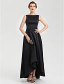 billiga Cocktailklänningar-A-linje Båthals Asymmetrisk Satäng Kort och lång / Elegant / minimalist Bal / Formell kväll Klänning 2020 med Plisserat