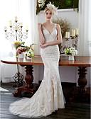 Χαμηλού Κόστους Νυφικά-Τρομπέτα / Γοργόνα Λαιμόκοψη V Ουρά Όλο δαντέλα Κανονικοί ιμάντες Σι-θρου / Με Όμορφη Πλάτη Φορέματα γάμου φτιαγμένα στο μέτρο με Διακοσμητικά Επιράμματα / Κουμπί 2020