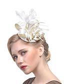 ราคาถูก เครื่องประดับผมผู้หญิง-สำหรับผู้หญิง หมวก Tömör szín ตาข่าย ขนนก ผ้า ปาร์ตี้