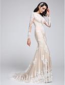 billiga Brudklänningar-Trumpet / sjöjungfru Prydd med juveler Hovsläp Spets på tyll Långärmad utskärningar Bröllopsklänningar tillverkade med Applikationsbroderi 2020