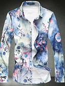 ราคาถูก เสื้อเชิ้ตผู้ชาย-สำหรับผู้ชาย เชิร์ต วินเทจ ฝ้าย ลายพิมพ์ ปกคลาสสิค เพรียวบาง ลายดอกไม้ สีน้ำเงิน / แขนยาว / ฤดูใบไม้ผลิ / ตก