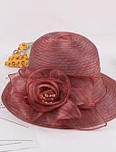 ราคาถูก หมวกสตรี-สำหรับผู้หญิง Kentucky Derby ลายต่อ ออแกนซ่า สีผสม,ดอกไม้-หมวกปีกกว้าง ฤดูใบไม้ผลิ & ฤดูใบไม้ร่วง ฤดูร้อน สีบานเย็น เทาอ่อน สีน้ำเงินกรมท่า / น่ารัก