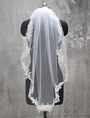 ราคาถูก ม่านสำหรับงานแต่งงาน-ชั้นเดียว งานผ้าขอบลายลูกไม้ ผ้าคลุมหน้าชุดแต่งงาน Elbow Veils กับ เข็มกลัด ลูกไม้ / Tulle / Mantilla