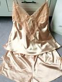 ราคาถูก เสื้อคลุมและชุดนอน-สำหรับผู้หญิง Sexy ซาตินและผ้าไหม / ชุด เสื้อนอน - ซาติน สีพื้น สีแดงชมพู สีเทา สีเหลือง L XL XXL