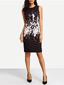 Χαμηλού Κόστους Print Dresses-Γυναικεία Εξόδου Θήκη Φόρεμα - Φλοράλ, Στάμπα Ως το Γόνατο Μαύρο / Λεπτό